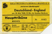 1959 Junioren-Länderspiel Ticket D - ENG